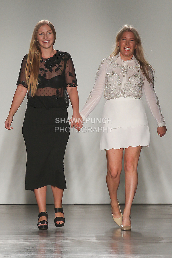 Australian fashion designers Becca Collins and Kara Sandeman walk runway at the close of their Mae's Sunday collection fashion show, for Fashion Palette Australian Evening & Bridal Show Spring Summer 2016, duing New York Fashion Week Spring 2016.