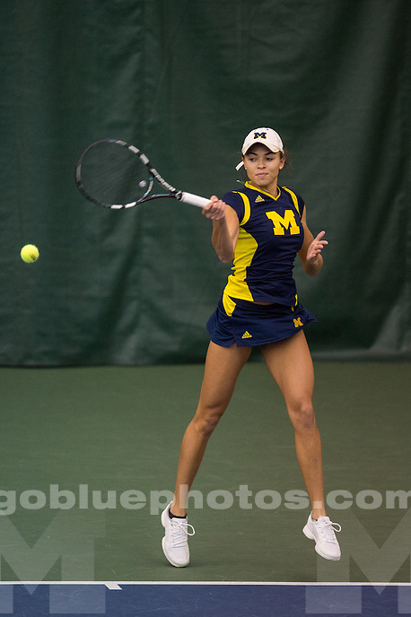 The University of Michigan women's tennis team faces Ohio State at the Varsity Tennis Center in Ann Arbor, MI on January 31, 2016.