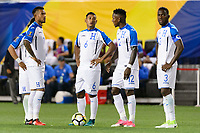 Harrison, NJ - Friday July 07, 2017: Carlos Discua, Bryan Acosta, Romell Quioto, Maynor Figueroa during a 2017 CONCACAF Gold Cup Group A match between the men's national teams of Honduras (HON) vs Costa Rica (CRC) at Red Bull Arena.