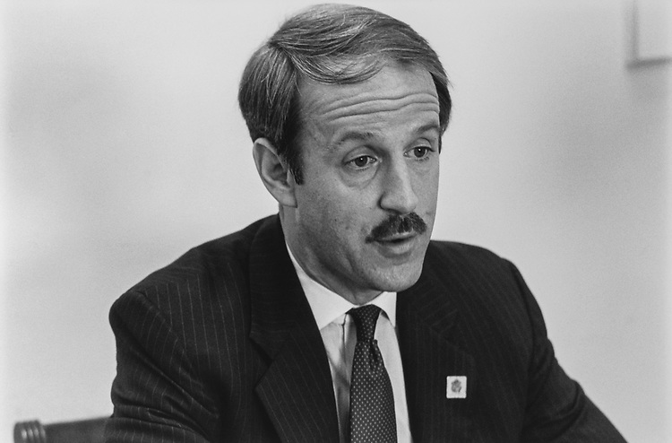 Close-up of Rep. Frank Riggs, R-Calif., on Feb. 10, 1992. (Photo by Chris Ayers/CQ Roll Call via Getty Images)