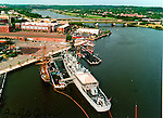 Aerial view of the USS Barry at the Anacostia River, DC Navy Yard