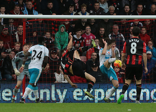 07.11.2015. Vitality Stadium, Bournemouth, England. Barclays Premier League. Dan Gosling of Bournemouth's shot is blocked by Fabricio Coloccini of Newcastle