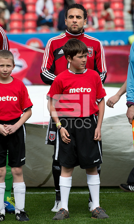 05 May 2012: D.C. United midfielder Dwayne De Rosario #7 during the opening ceremonies in an MLS game between DC United and Toronto FC at BMO Field in Toronto..D.C. United won 2-0.