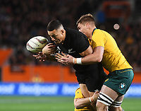 Sonny Bill Williams drops the ball.<br /> Bledisloe Cup and Rugby Championship test match. New Zealand All Blacks v Australian Wallabies at Forsyth Barr Stadium, Dunedin, New Zealand. Saturday 26 August 2017. © Copyright photo: Andrew Cornaga / www.Photosport.nz