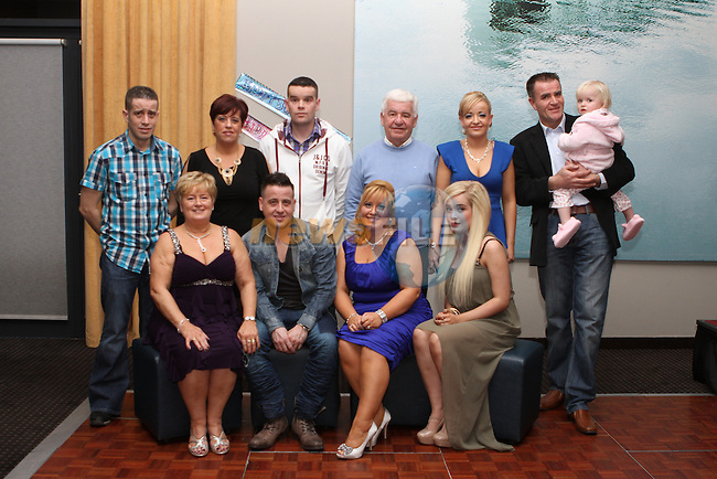 Olivia McGinn (40th) and her brother Ronan Quinn (30th) celebrate their birthdays in the d Hotel with family, Martin and Marie, Tracey, Gareth, John, Leona , John and Hannah...Photo NEWSFILE/Jenny Matthews..(Photo credit should read Jenny Matthews/NEWSFILE)