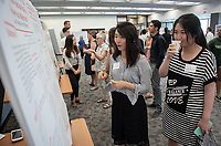 """Delta Sets of Non-Minimal Numerical Monoid"" by Vena Zhang<br /> (Mentor: Jay Daigle, Mathematics)<br /> Occidental College's Undergraduate Research Center hosts their annual Summer Research Conference, Aug. 1, 2018. Student researchers presented their work as either oral or poster presentations at the final conference. The program lasts 10 weeks and involves independent research in all departments.<br /> (Photo by Marc Campos, Occidental College Photographer)"