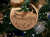 """The 2018 White House Christmas decorations, with the theme """"American Treasures"""" which were personally selected by first lady Melania Trump, are previewed for the press in Washington, DC on Monday, November 26, 2018.  This is a close-up of an ornament on one of the trees in the East Room showing the US Territories and Hawaii. <br /> Credit: Ron Sachs / CNP"""