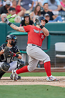 Bruce Maxwell (11) of the Nashville Sounds bats against the Salt Lake Bees at Smith's Ballpark on July 27, 2018 in Salt Lake City, Utah. The Bees defeated the Sounds 8-6. (Stephen Smith/Four Seam Images)