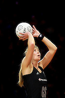 07.08.2010 Silver Ferns Irene Van Dyk in action during the Silver Ferns v Samoa netball test match played at Te Rauparaha Arena in Porirua Wellington. Mandatory Photo Credit ©Michael Bradley.