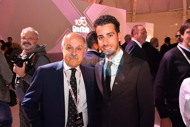 Fabio Aru at the 100th edition Giro d`Italia 2017 route presentation held at the Ice Palace in Milan, 25th October 2016.<br /> Picture: ANSA/Claudio Peri | Newsfile<br /> <br /> <br /> All photos usage must carry mandatory copyright credit (&copy; Newsfile | ANSA/Claudio Peri)