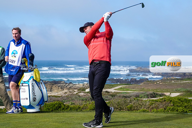 Paul Casey (ENG) in action at Monterey Peninsula during the second round of the AT&T Pro-Am, Pebble Beach, Monterey, California, USA. 06/02/2020<br />