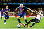 Gabriel Armando de Abreu of Valencia CF (R) trips up with Ivan Rakitic of FC Barcelona (L) during the Copa Del Rey 2017-18 match between FC Barcelona and Valencia CF at Camp Nou Stadium on 01 February 2018 in Barcelona, Spain. Photo by Vicens Gimenez / Power Sport Images