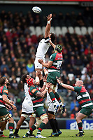 Steven Luatua of Bristol Bears wins the ball at a lineout. Gallagher Premiership match, between Leicester Tigers and Bristol Bears on April 27, 2019 at Welford Road in Leicester, England. Photo by: Patrick Khachfe / JMP