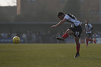 Pat Hoban of Grimsby Town shoots at goal during the FA Trophy Semi Final first leg match between Bognor Regis and Grimsby Town at Nyewood Lane, Bognor Regis, England on 12 March 2016. Photo by Paul Paxford/PRiME Media Images.