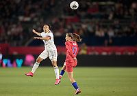 CARSON, CA - FEBRUARY 7: Karla Nieto #16 of Mexico heads a ball during a game between Mexico and USWNT at Dignity Health Sports Park on February 7, 2020 in Carson, California.