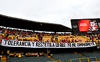 BOGOTÁ-COLOMBIA, 09-11-2019: Hinchas de Independiente Santa Fe animan a su equipo durante partido de la fecha 1 de los cuadrangulares semifinales entre Independiente Santa Fe y América de Cali, por la Liga Águila II 2019, jugado en el estadio Nemesio Camacho El Campín de la ciudad de Bogotá. / Fans of Independiente Santa Fe cheer for their team during a match of the 1 date of the semifinals quarter finals between Independiente Santa Fe and America de Cali, for the Aguila Leguaje II 2019 played at the Nemesio Camacho El Campin Stadium in Bogota city. / Photo: VizzorImage / Luis Ramírez / Staff.