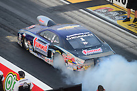 Jun. 29, 2012; Joliet, IL, USA: NHRA pro stock driver Jason Line during qualifying for the Route 66 Nationals at Route 66 Raceway. Mandatory Credit: Mark J. Rebilas-