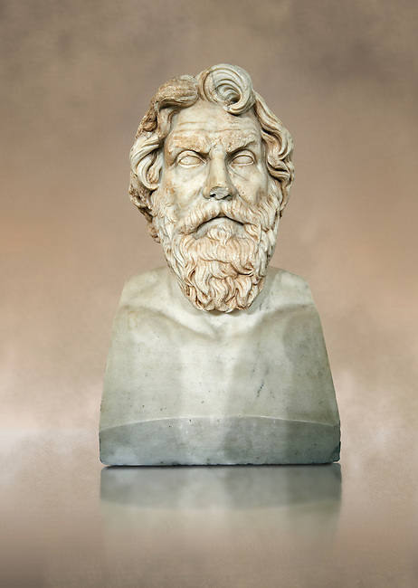 Roman marble sculpture bust of Antisthenes, 2nd century AD copy from an original 340-330 BC Hellanistic Greek original, inv 6159, Naples Museum of Archaeology, Italy