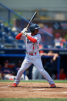 Reading Fightin Phils shortstop Malquin Canelo (6) at bat during the second game of a doubleheader against the Portland Sea Dogs on May 15, 2018 at FirstEnergy Stadium in Reading, Pennsylvania.  Reading defeated Portland 9-8.  (Mike Janes/Four Seam Images)