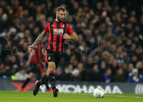20th December 2017, Stamford Bridge, London, England; Carabao Cup quarter final, Chelsea versus Bournemouth; Steve Cook of Bournemouth comes forward on the ball