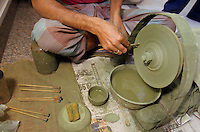 In Jaipur India, the world capital leader of Emerald cutter, this men is in charge of giving the first rough polishing on the stone