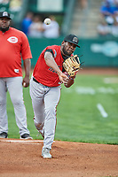 Billings Mustangs starting pitcher Luis Alecis (56) warms up in the bullpen before a game against the Ogden Raptors at Lindquist Field on August 17, 2018 in Ogden, Utah. Billings defeated Ogden 6-3. (Stephen Smith/Four Seam Images)