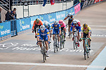 The bunch cross the finish line in the Roubaix Velodrome at the end of the 117th edition of Paris-Roubaix 2019, running 257km from Compiegne to Roubaix, France. 14th April 2019<br /> Picture: Thomas van Bracht/PelotonPhotos.com | Cyclefile<br /> All photos usage must carry mandatory copyright credit (&copy; Cyclefile | Thomas van Bracht/PelotonPhotos.com)