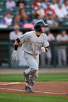 Wisconsin Timber Rattlers first baseman Alan Sharkey (18) runs to first during a game against the Peoria Chiefs on August 21, 2015 at Dozer Park in Peoria, Illinois.  Wisconsin defeated Peoria 2-1.  (Mike Janes/Four Seam Images)