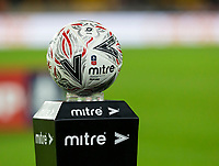 4th January 2020; Molineux Stadium, Wolverhampton, West Midlands, England; English FA Cup Football, Wolverhampton Wanderers versus Manchester United; The match ball on the plinth before the kick off - Strictly Editorial Use Only. No use with unauthorized audio, video, data, fixture lists, club/league logos or 'live' services. Online in-match use limited to 120 images, no video emulation. No use in betting, games or single club/league/player publications
