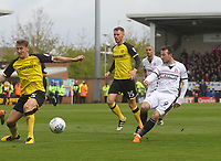 Bolton Wanderers Adam Le Fondre gets a shot on goal<br /> <br /> Photographer Mick Walker/CameraSport<br /> <br /> The EFL Sky Bet Championship - Burton Albion v Bolton Wanderers - Saturday 28th April 2018 - Pirelli Stadium - Burton upon Trent<br /> <br /> World Copyright &copy; 2018 CameraSport. All rights reserved. 43 Linden Ave. Countesthorpe. Leicester. England. LE8 5PG - Tel: +44 (0) 116 277 4147 - admin@camerasport.com - www.camerasport.com