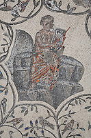 Roman mosaic of Orpheus with his lyre from the centre of Orpheus surrounded by animals, at the House of Orpheus, Volubilis, Northern Morocco. Volubilis was founded in the 3rd century BC by the Phoenicians and was a Roman settlement from the 1st century AD. Volubilis was a thriving Roman olive growing town until 280 AD and was settled until the 11th century. The buildings were largely destroyed by an earthquake in the 18th century and have since been excavated and partly restored. Volubilis was listed as a UNESCO World Heritage Site in 1997. Picture by Manuel Cohen