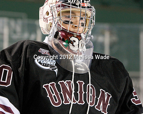 Colin Stevens (Union - 30) - The Union College Dutchmen defeated the Harvard University Crimson 2-0 on Friday, January 13, 2012, at Fenway Park in Boston, Massachusetts.