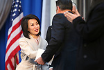 Nevada First Lady Kathy Sisolak greets former Gov. Brian Sandoval at the Capitol, in Carson City, Nev., on Monday, Jan. 7, 2019. (Cathleen Allison/Las Vegas Review-Journal)