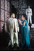 """Pictured: Roland Wood as Oedipus, the King and Susan Bickley as Jocasta, mother/wife of Oedipus, with Peter Hoare as Creon at the back. Dress rehearsal of Thebans. English National Opera gives world premiere of British composer Julian Anderson's first opera """"Thebans"""" at the London Coliseum. Thebans is based on the three Theban plays by Sophocles that chronicle the cursed life of Oedipus and his daughter Antigone. Thebans opens at the London Coliseum on 3 May 2014 for 7 performances. The new production is supported by The Boltini Trust, PRS for Music Foundation and ENO's Contemporary Opera Group, a co-production with Theater Bonn in Germany. With Roland Wood as Oedipus, Peter Hoare as Creon (Jocasta's brother), Matthew Best as Tiresias (blind prophet), Susan Bickley as Jocasta (Oedipus' mother/wife) and Julia Sporsen as Antigone (Oedipus' daugher). Score by Julian Anderson, libretto by Frank McGuinness, directed by Pierre Audi and conducted by Edward Gardner."""