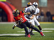 College Park, MD - NOV 25, 2017: Maryland Terrapins running back Lorenzo Harrison III (2) is tackled by Penn State Nittany Lions safety Garrett Taylor (17) during game between Maryland and Penn State at Capital One Field at Maryland Stadium in College Park, MD. (Photo by Phil Peters/Media Images International)