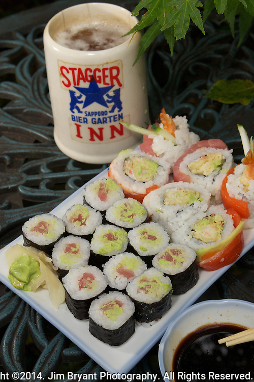 Japanese Rainbow Rolls and Tekka Maki Tuna Rolls with Sapporo Beer. ©2014 Jim Bryant Photo. All Rights Reserved.