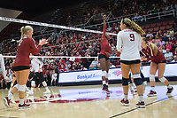 STANFORD, CA - September 9, 2018: Kathryn Plummer, Morgan Hentz, Tami Alade, Jenna Gray at Maples Pavilion. The Stanford Cardinal defeated #1 ranked Minnesota 3-1 in the Big Ten / PAC-12 Challenge.