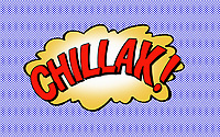 The word Chillax in speech bubble
