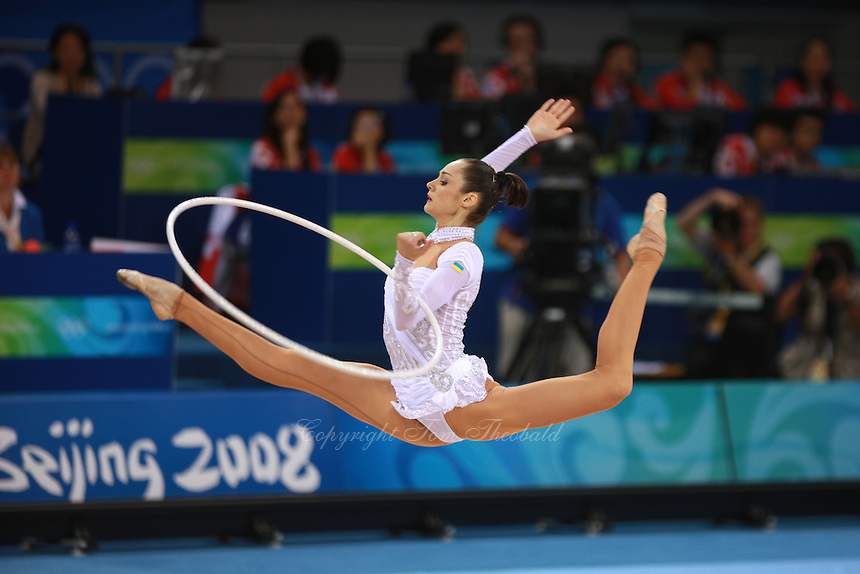 August 23, 2008; Beijing, China; Rhythmic gymnast Anna Bessonova of Ukraine split leaps with hoop on way to winning bronze in the Individual All-Around final at 2008 Beijing Olympics..(©) Copyright 2008 Tom Theobald