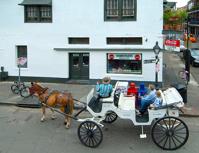 Louisiana, New Orleans, French Quarter, Bourbon Street, Clover Grill, Horse And Carriage Tour