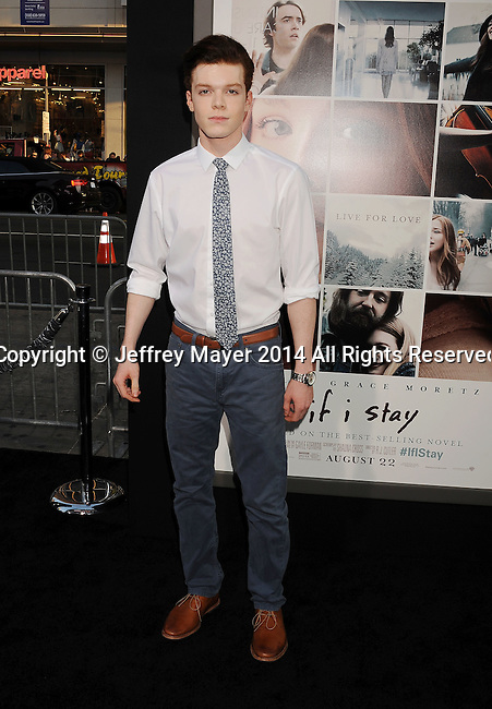 xHOLLYWOOD, CA- AUGUST 20: Actor Cameron Monaghan arrives at the Los Angeles premiere of 'If I Stay' at TCL Chinese Theatre on August 20, 2014 in Hollywood, California.