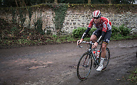 Frederik Frison (BEL/Lotto-Soudal) on the Chemin de Wih&eacute;ries cobble section (Honelles)<br /> <br /> GP Le Samyn 2017 (1.1)