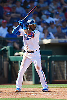 Elvis Andrus (1) of the Texas Rangers at bat during a Cactus League Spring Training game against the Los Angeles Dodgers on March 8, 2020 at Surprise Stadium in Surprise, Arizona. Rangers defeated the Dodgers 9-8. (Tracy Proffitt/Four Seam Images)