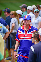 An avid golf fan wearing his colors at 8 during Saturday's round 3 of the PGA Championship at the Quail Hollow Club in Charlotte, North Carolina. 8/12/2017.<br /> Picture: Golffile | Ken Murray<br /> <br /> <br /> All photo usage must carry mandatory copyright credit (&copy; Golffile | Ken Murray)