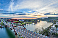 Another capture of the Austin 360 Bridge at sunset that crosses Lake Austin from a high point on the cliffs. This bridge is named the Pennyback bridge but since it sits on the hwy 360 everyone refers to it as the 360 bridge.  This Texas hill country site is probably one of the top spot to take a photograph of the bridge at sunset or any time for that matter.  We were lucky in that we were able to capture it without it usual backed up traffic which is a common site today.