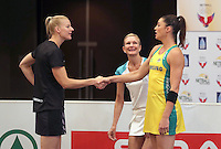 28.01.2017 Silver Ferns Katrina Grant and Sharni Layton shake hands after the coin toss before the Silver Ferns v Australian Diamonds netball test match played at the International Convention Centre studium in Durban, South Africa.<br />  Mandatory Photo Credit ©Reg Caldecott/Michael Bradley Photography.