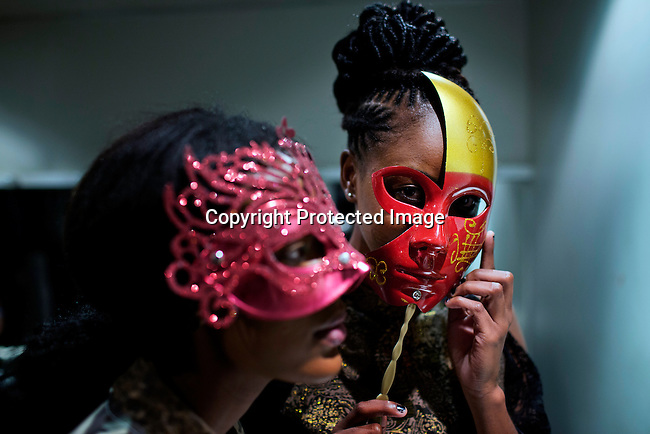 SOWETO, SOUTH AFRICA MAY 31: Models for designer brand Zamaswazi wait backstage before a fashion show at Soweto Fashion Week on May 31, 2014 at the Soweto Theatre in the Jabulani section of Soweto, South Africa. Local emerging designers showed their collections during the three-day event held at the theatre. Founded in 2012, Soweto fashion week gives a platform to local designers, models and artists. (Photo by: Per-Anders Pettersson)
