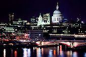 View of St Paul's Cathedral and the River Thames at night.