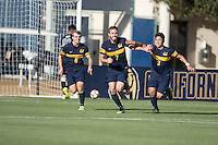 BERKELEY, CA - Oct. 13, 2016: Cal's (7) Trevor Haberkorn celebrates scoring his goal with (6) Christian Thierjung and (3) Shinya Kadono against UCLA.  Cal Men's Soccer played UCLA on Goldman Field at Edwards Stadium.
