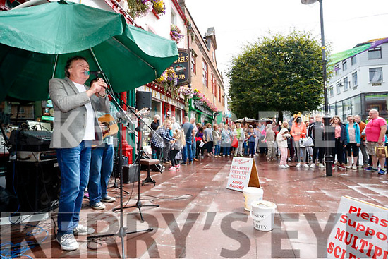 Busking at the Market Cross in Killarney on Monday.